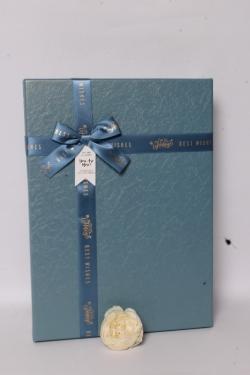 Подарочная коробка одиночная - Прямоугольник тиснение кожа бирюза 35*25*7см  В623
