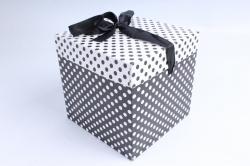 Подарочная коробка одиночная Куб - трансформер Чёрно-белый горох  SF-5025М  М