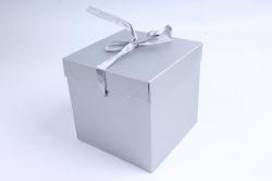 Подарочная коробка одиночная Куб - трансформер серебро  SF-5019M  М