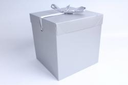 Подарочная коробка одиночная Куб - трансформер серебро   SF-5019L  М