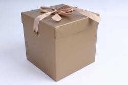 Подарочная коробка одиночная Куб - трансформер золото SF-5019M  М