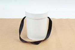 Подарочная коробка одиночная 1шт - Цилиндр белый d=12,5, h=16см В53