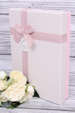 Подарочная коробка одиночная 1шт - Прямоугольник под рубашку в елочку розовый 28*20*6см  В103