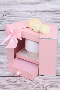 Подарочная коробка одиночная 1шт - Шкатулка с секретом розовая 13x13 h=17см В286