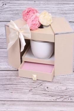 Подарочная коробка одиночная 1шт - Шкатулка с секретом шампань 13x13 h=17см В286