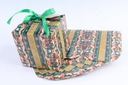 Подарочная коробка одиночная 12шт в уп - Куб Новый Год с бантом Зеленая   N701