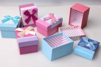 Подарочная коробка прямоугольник 10х7х5,5см (6шт. в уп) (цена 1шт) цвета и рисунки в ассортименте