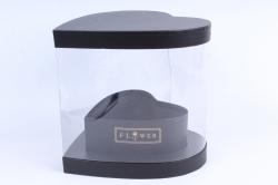 Подарочная коробка- Сердце-трансформер с прозрачной стенкой чёрное