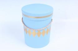 Подарочная коробка (1шт) - Цилиндр под цветы Голубой W6683  (М)