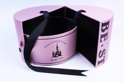 "Подарочная коробка (1шт) - Цилиндр -трансф. ткань ""BEST"" лаванда"