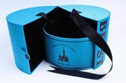 """Подарочная коробка (1шт) - Цилиндр -трансф. ткань """"BEST"""" моская волна"""