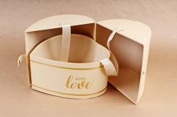 Подарочная коробка 1шт - Сердце трансформер кремовое   К93