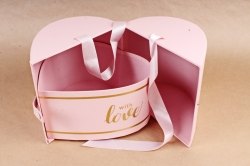 Подарочная коробка 1шт - Сердце трансформер розовое    К93