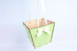 Подарочная коробка-сумка №2  фанера, салатовый-шампаньПУ432-00-1304
