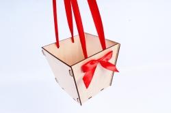 Подарочная коробка-сумка №2 фанера,  неокрашенный-красныйПУ432-00-0006