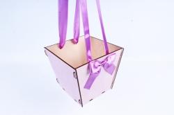 Подарочная коробка-сумка №2 фанера,  сиреневый-сиреневыйПУ432-00-0909