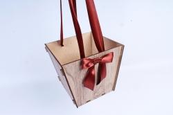 Подарочная коробка-сумка №3 ЛДВП, серый-коричневыйПУ438-00-2017