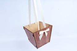 Подарочная коробка-сумка №3  ЛДВП,  коричневый-шампаньПУ437-00-1704