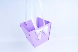 Подарочная коробка-сумка №1  МДФ, оформл, сиреневый-белыйПУ431-02-0903