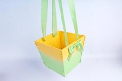 Подарочная коробка-сумка №1  МДФ, с градиентом, желтый-салатовыйПУ431-02-1613