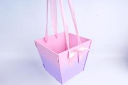 Подарочная коробка-сумка №1 МДФ, с градиентом, розовый-сиреневыйПУ431-02-0509