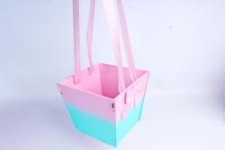 Подарочная коробка-сумка №1  МДФ, с градиентом, розовый-тиффани ПУ431-02-0526