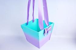 Подарочная коробка-сумка №1  МДФ, с градиентом, тиффани-сиреневыйПУ431-02-2609