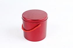 Подарочная коробочка из металла - Цилиндр с ручкой красный  P7J0009CZE