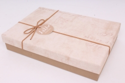 Подарочная прямоугольная коробка, 28х19х5,5 см, бежевый / коричневый 7517М