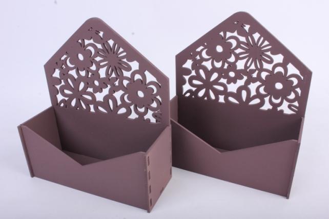 """Подарочная упаковка (2шт в уп) """"Конверт"""" с цветами (18*6,6*20,5) МДФ-3мм, окраш. коричневыйПУ299-02-1717"""