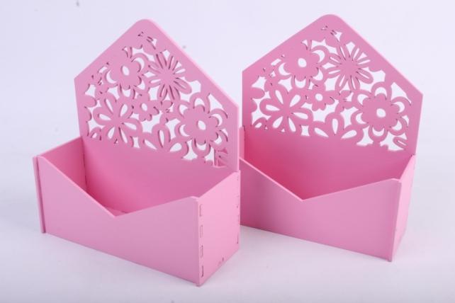 """Подарочная упаковка (2шт в уп)  """"Конверт"""" с цветами (18*6,6*20,5) МДФ-3мм,  окраш. розовыйПУ299-02-0505"""