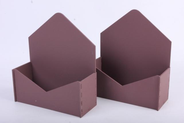 """Подарочная упаковка (2шт в уп) """"Конверт"""" с глухими стенками (18*6,6*20,5) МДФ-3мм,  окраш. коричневыйПУ294-02-1717"""