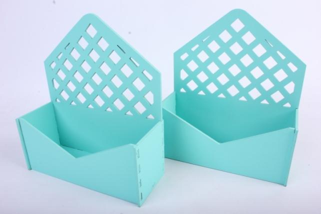 """Подарочная упаковка (2шт в уп) """"Конверт"""" с решеткой (18*6,6*20,5) МДФ-3мм,  окраш. тиффаниПУ297-02-2626"""