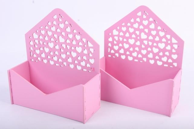 """Подарочная упаковка (2шт в уп) """"Конверт"""" с сердечками (18*6,6*20,5) МДФ-3мм,  окраш. розовыйПУ296-02-0505"""