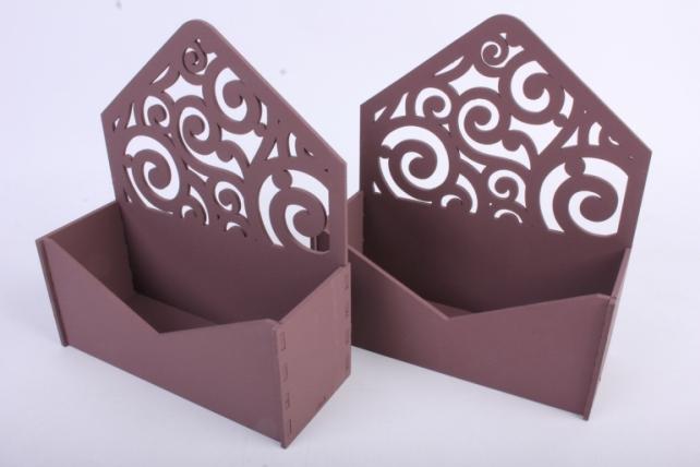 """Подарочная упаковка (2шт в уп) """"Конверт"""" с вензелями (18*6,6*20,5) МДФ-3мм, окраш. коричневыйПУ295-02-1717"""