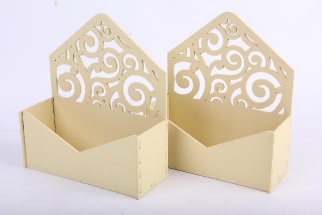 """Подарочная упаковка (2шт в уп) """"Конверт"""" с вензелями (18*6,6*20,5) МДФ-3мм, Упак-2 шт., окраш. шампаньПУ295-02-0404"""