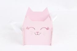 """Подарочная упаковка """"Киска""""  МДФ 3мм,  Розовый пастель-белый, 1 шт.ПУ523-02-3903"""