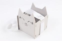 """Подарочная упаковка """"Киска""""   МДФ 3мм,  Серый пастель-белый, 1 шт.ПУ523-02-4703"""