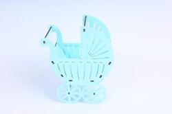 """Подарочная упаковка """"Коляска"""" малая  МДФ 3мм,  Голубой пастель, ПУ517-02-4646"""