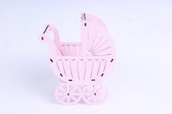 """Подарочная упаковка """"Коляска"""" малая  МДФ 3мм,  Розовый пастель, ПУ517-02-0303"""