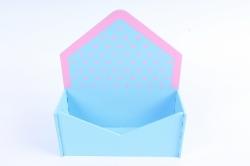 """Подарочная упаковка """"Конверт"""" малый, с горошком, 1 шт., голубо-розовый  ПУ347-02-0705"""