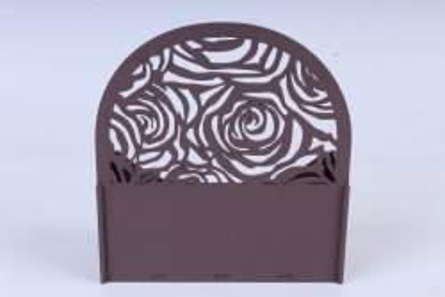 """подарочная упаковка """"конверт"""" с розами, округлый мдф-3мм, 1 шт., окраш. коричневыйпу301-02-1717"""