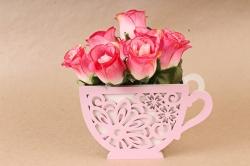 """Подарочная упаковка """"Кружка"""" с цветами   МДФ 3мм, Белый ПУ530-02-0339"""