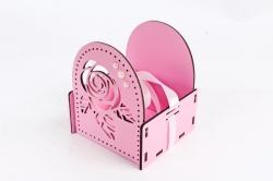 Подарочная упаковка МИНИ с розой №2   МДФ 3мм,  Розовый-белый ПУ506-02-0503