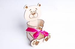 """Подарочная упаковка """"Мишка"""" Фанера 3мм, неокраш., оформл. 1 шт.ПУ478-00-0010"""