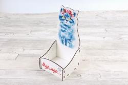 """Подарочная упаковка """"Мур, мур..."""" МДФ 3мм, УФ печать, белый ПУ631-02-0300"""