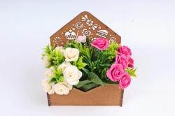 Подарочная упаковка-конверт малый, со сладостями   МДФ , окрашен. морилкой ПУ484-00-3434