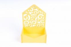 Подарочная упаковка-конверт МИНИ с вензелями   МДФ , Желтый ПУ427-02-1616
