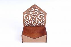 Подарочная упаковка-конверт МИНИ с вензелями  МДФ , морилка Дуб ПУ427-00-3737