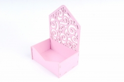 Подарочная упаковка-конверт МИНИ с вензелями   МДФ , Розовый ПУ427-02-0505